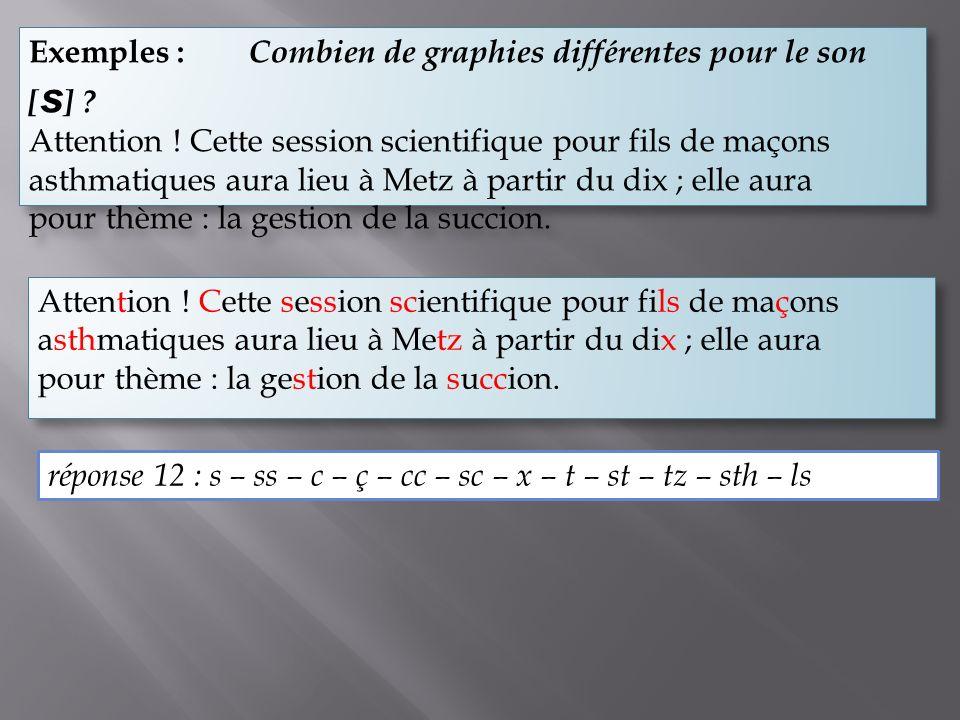 Exemples : Combien de graphies différentes pour le son [s]
